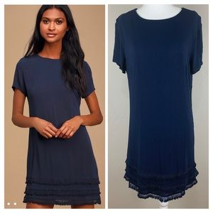 NWT Lulu's Buenos Aires Navy Blue Shift Dress